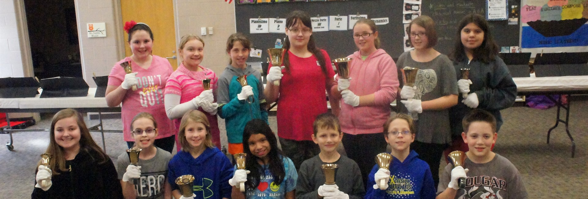 Kankakee Valley Intermediate School 5th Grade Handbell Choir with their handbells.