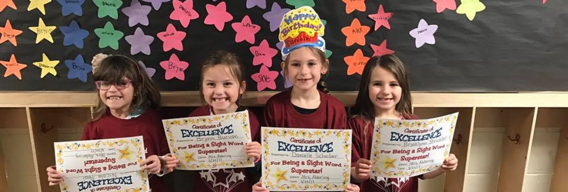 Wheatfield Elementary School Students with Sight Word Certificates