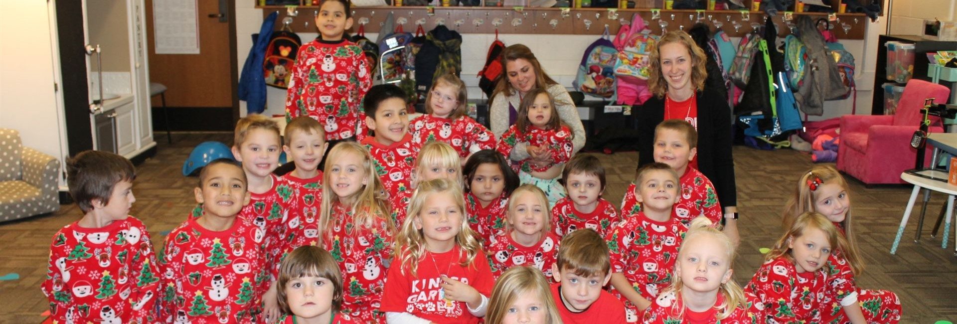 Mrs. Dunleavy's class in their matching Christmas PJ's