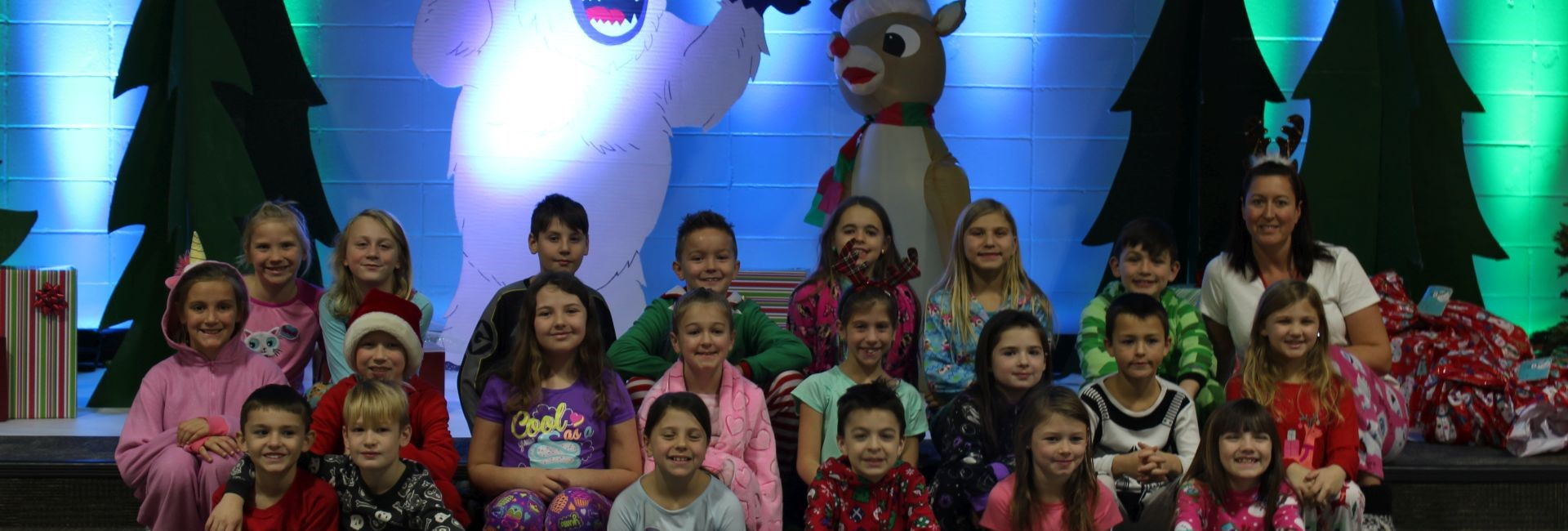 Mrs. Jurcik's class photo during Rudolph the Red Nosed Reindeer Week