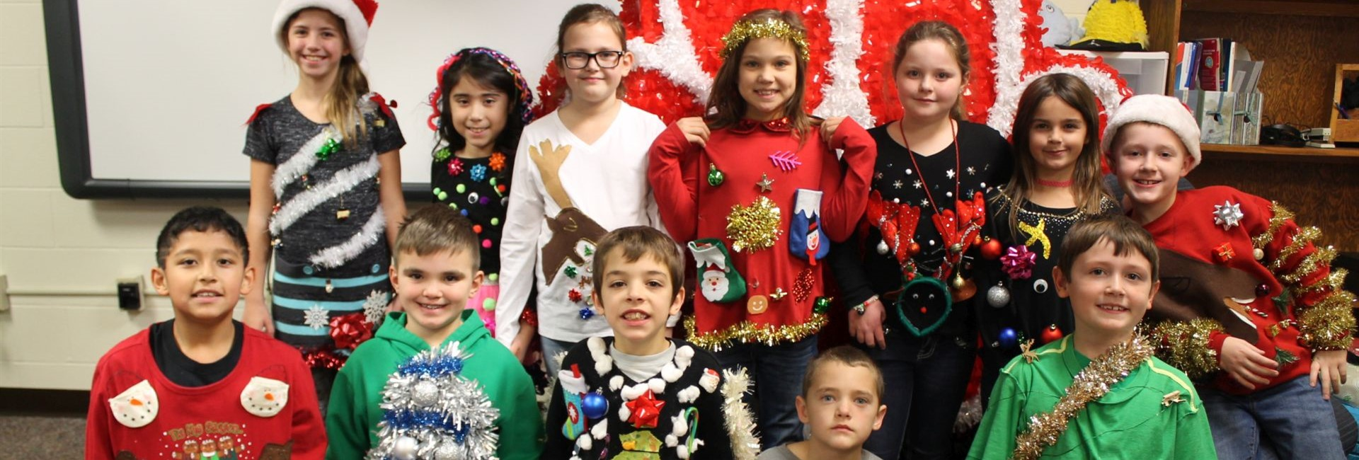 "Mrs. Hanaway's class ""ugly sweater"" contestants"