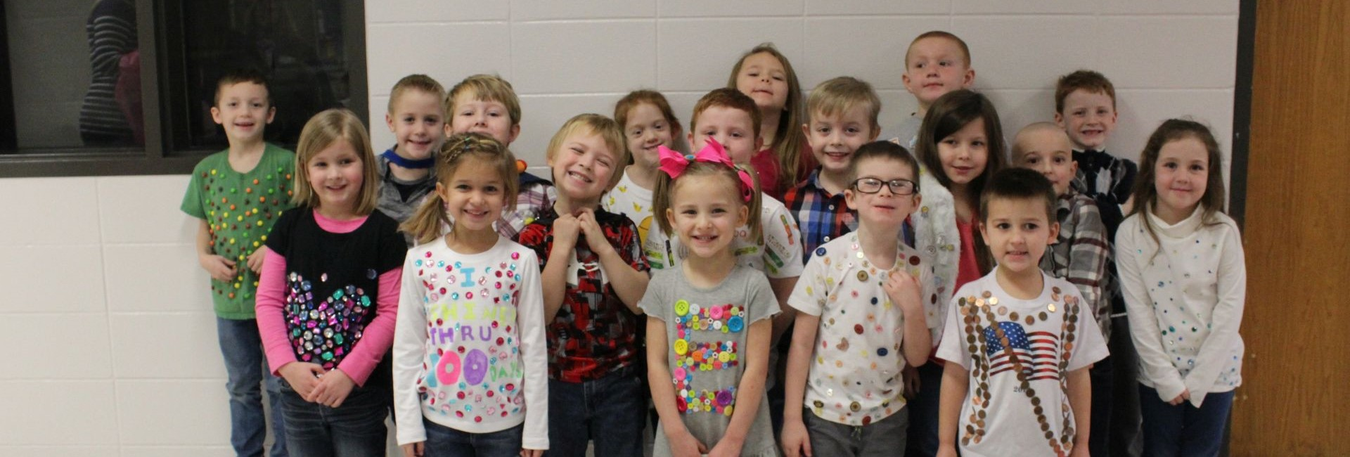 Mrs. Wheeler's class showing off their 100th Day Fashion Show attire.