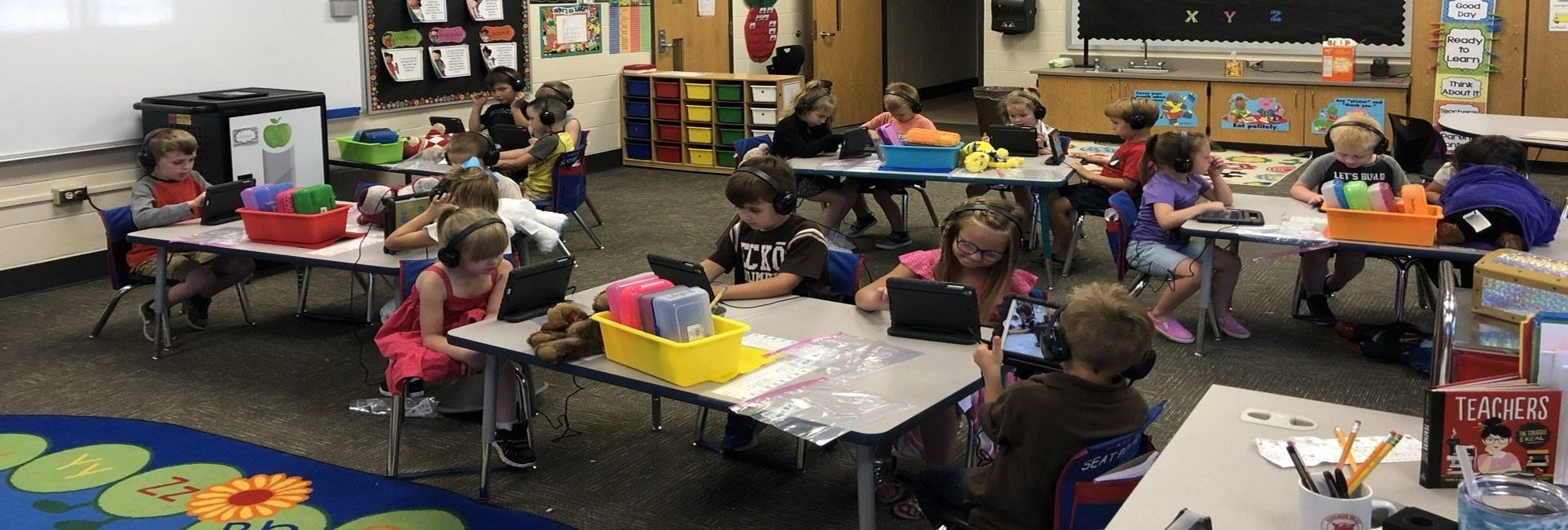 Mrs. Bucher's Kindergarten Class at WES Working on their iPads