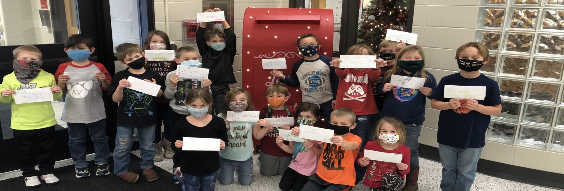 Mrs. Wheelers class getting all ready to mail out their letters to Santa - WES.