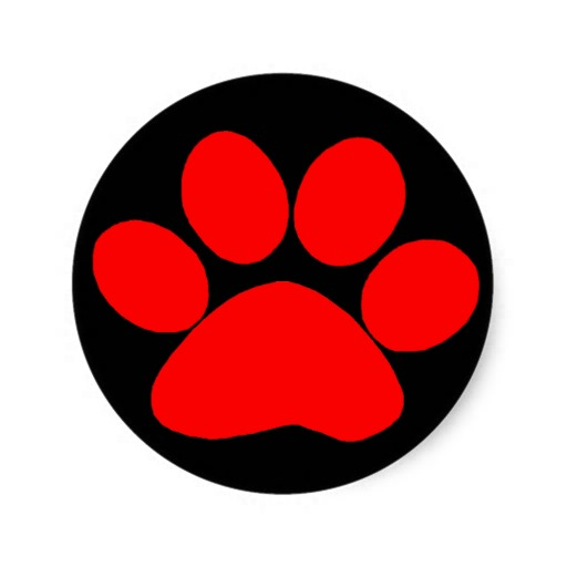 red paw print in circle